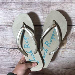 Jack Rogers silver gray flip flop sandals